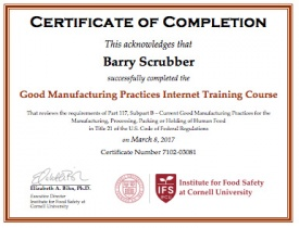 Good manufacturing practices part 117 online course institute for course completion certificate yelopaper Image collections
